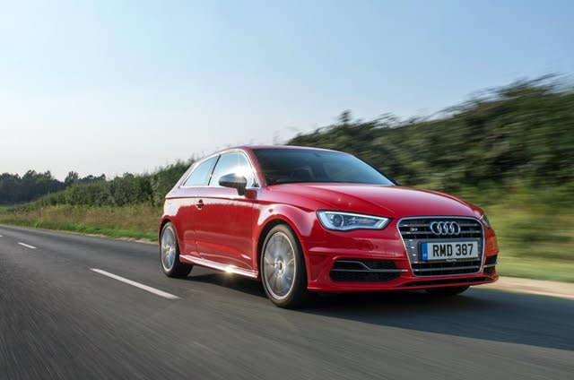 Audi A3 red front driving