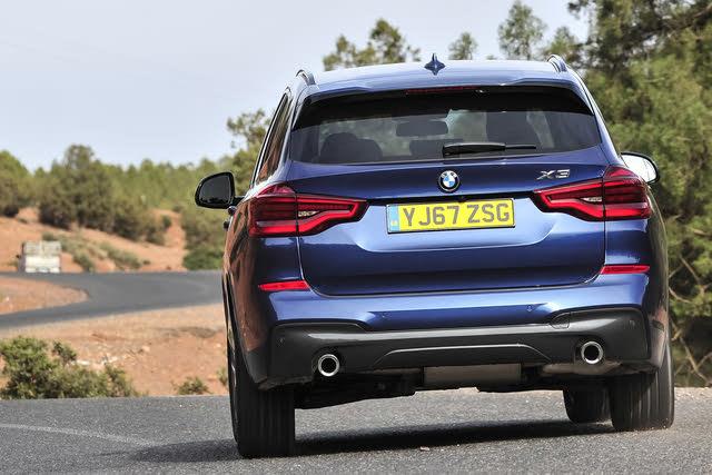 2018-2020 BMW X3 (G01) blue, rear, driving