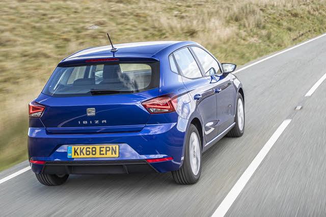 2017-2020 Seat Ibiza, blue, rear three-quarters, driving